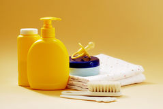 Baby bathroom accessories and toys. Baby soap, talcum powder, cream and other bathroom accessories Stock Photo