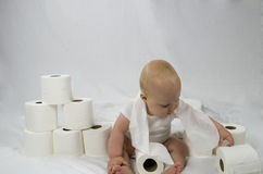 Baby & Bathroom Tissue Royalty Free Stock Images