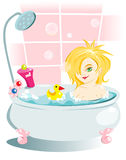 A baby in the bathtub Stock Image