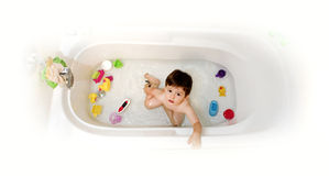 Baby in bathtub Stock Photo