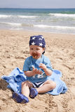 Baby at beach Royalty Free Stock Photo