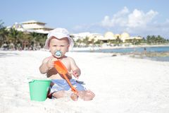 Baby on Beach Stock Images