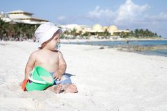 Baby on Beach Royalty Free Stock Photo