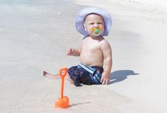 Baby on Beach Royalty Free Stock Photos
