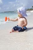 Baby on Beach Stock Photos