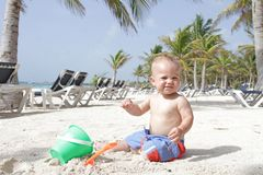 Baby on Beach Royalty Free Stock Images