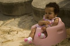 Baby at beach. A cute little baby at the beach Royalty Free Stock Image