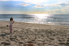 Baby on the Beach. Baby Walking on the Beach Royalty Free Stock Image