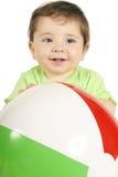 Baby and Beach Ball stock photo