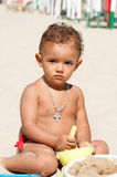 Baby in the beach Royalty Free Stock Photo
