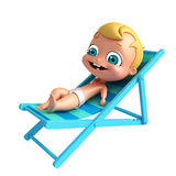 Baby with Beach chair. 3D Render of baby with Beach chair Royalty Free Stock Image
