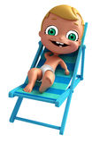 Baby with Beach chair. 3D Render of baby with Beach chair Stock Photos