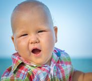 Baby on the beach Royalty Free Stock Image