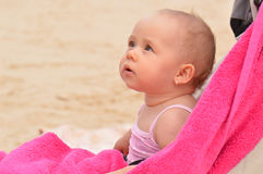Baby on beach Stock Image