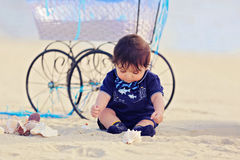 Baby at the beach Royalty Free Stock Photo