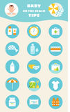 Baby on Beach Tips. Children Sun and Water Safety Rules Vector Infographics. Icons and Illustrations Royalty Free Stock Images