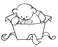 Baby bear. In an unwrapped gift box Stock Photo