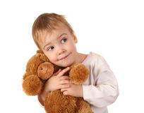 Baby with bear. Toy isolated royalty free stock images