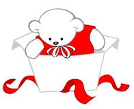 Baby bear. In an unwrapped gift box Royalty Free Stock Images