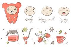 Baby bear. Baby icons (bear, jam, rasberry, cup, flower royalty free illustration