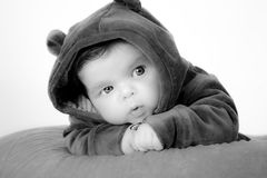 Baby bear. It is a baby with a teddy bear costume Royalty Free Stock Photos