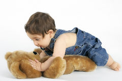 Baby and Bear. A playful baby crawls on a teddy bear on a white background stock photography