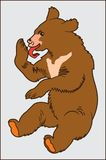 BABY BEAR ANIMAL. Image of a bear cub that licks a paw on the gray background Stock Illustration