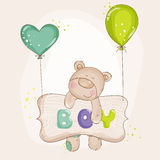 Baby Bear with Balloons Stock Image