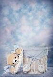 Baby Bear Basket. Cute Bear Basket for Babies. Use as a digital photography prop stock image