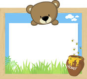 Baby bear and blank board Stock Images