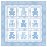 baby bear blue pastel quilt teddy Στοκ Φωτογραφία