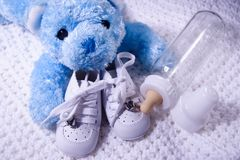 Baby Bear and Bottle Stock Image