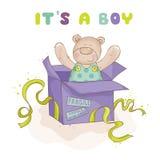 Baby Bear in a Box - Baby Card Stock Photos