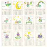 Baby Bear Calendar 2015. Week starts with Sunday Stock Images