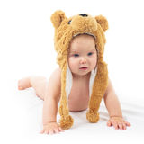 Baby in bear cap. Cute baby in bear cap in white background stock images