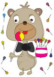 Baby Bear Eating Lollipop_eps Royalty Free Stock Photography