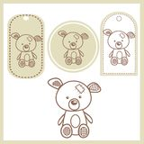 Baby bear labels. Illustration Royalty Free Stock Photography