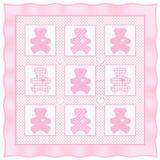 baby bear pastel pink quilt teddy 库存照片