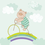 Baby Bear Riding Bike Stock Photography