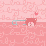 Baby bear safety pin female. A sweet safety pin on baby pink background. Digital illustration Stock Images