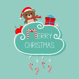 Baby bear in Santa hat, giftbox, snowflake, ball. Merry Christmas card. Hanging Candy Cane. Dash line with bow. Flat design. Blue Royalty Free Stock Photo
