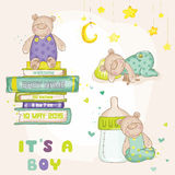 Baby Bear Set. For Baby Shower or Baby Arrival Cards - in vector royalty free illustration