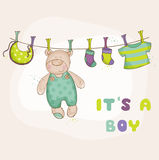Baby Bear Shower or Arrival Card Royalty Free Stock Image