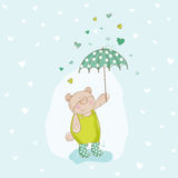 Baby Bear with Umbrella Illustration Royalty Free Stock Photo