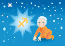 Baby bear under a sign a zodiac Sagittarius Royalty Free Stock Photos