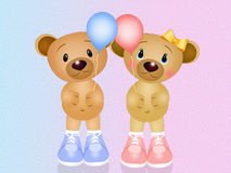Baby bears with balloons Royalty Free Stock Photo