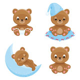 Baby bears different characters. Four isolated vector icons Stock Image