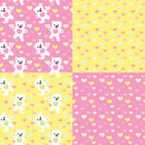 Baby bears  seamless  patterns set Stock Photos