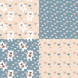 Baby bears  seamless  patterns set Royalty Free Stock Images