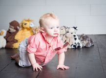Beau with his Plush Toys stock photography